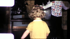 Cute Girl Spinning Children DANCING TV SET 1960s Vintage Film Home Movie 9345 - stock footage