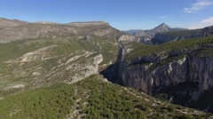 Gorges du Verdon gorge and the Route des Cretes road in autumn, France - aerial Stock Footage