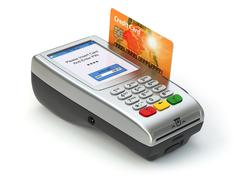 POS terminal with credit card isolated on white. Paying. - stock illustration
