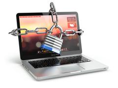 Stock Illustration of Computer security or safety concept. Laptop keyboard with lock and chain.