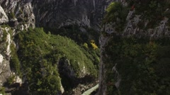 Couloir Samson ravine with Gorges du Verdon gorge, France – aerial view by drone Stock Footage