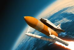 Space Shuttle Solid Rocket Boosters Separation In Stratosphere - stock photo