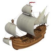 Caravel Over White Background - stock photo