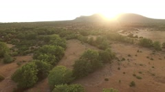 Scrubland landscape at sunset in Gard, France – aerial view by drone Stock Footage