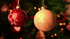christmas and new year decoration balls. abstract blurred bokeh holiday - stock footage