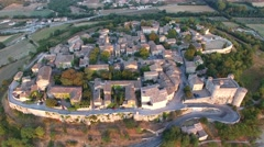 The ancient, historic French village of Lussan with Mont Bouquet, Gard, South of Stock Footage