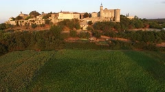 The ancient, historic French village of Lussan with Mont Bouquet, Gard, South of - stock footage
