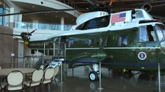 Marine One Presidential Helicopter at the Ronald Reagan Presidential Library Stock Footage