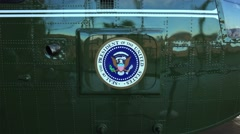 "Presidential Seal on the side of Presidential Helicopter ""Marine One"" Stock Footage"