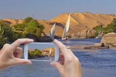Take a picture of Nile near Aswan - stock photo