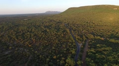 Scrubland landscape in the early morning in Gard, France – aerial view by drone Stock Footage