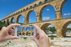Take a picture of Pont du Gard Stock Photos
