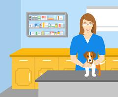 Woman veterinarian holding a dog in veterinary office - stock illustration