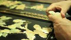 Art of wood carving and nacre 2 Stock Footage