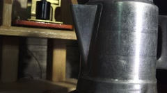 Coffee pot and old trunk Stock Footage