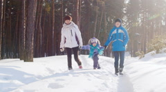 Mother with her son and daughter walking in the woods in winter - stock footage