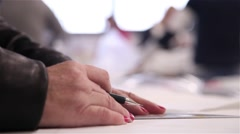 Woman doing lines with pencil using set square Stock Footage