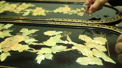 Art of wood carving and nacre 6 Stock Footage