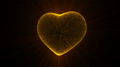 Pulsing Gold Heart. - stock footage