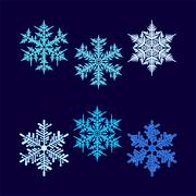 Six vector beautiful hex-shaped snowflakes Stock Illustration