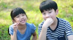 Little asian boy an girl eating meal in the park Stock Footage
