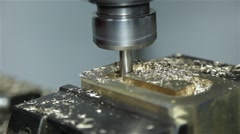 brass being drilled by industrial drill - stock footage