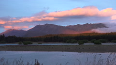 Purple mountains majesty at Lake Tekapo, NZ Stock Footage