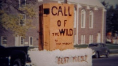 1952: Call of the Wild parade float to beat Pueblo school. GREELEY, COLORADO Stock Footage
