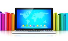 Laptop in front of row of color books - stock illustration