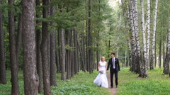 Wedding couple  taking a walk in the park Stock Footage