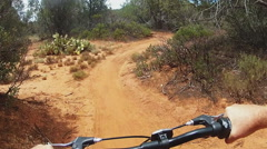 Stock Video Footage of POV Riding Mountain Bike On Curvy Trail In Forest- Sedona AZ