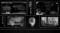 Stock Video Footage of Global Watch - Worp Map Scans - black 001