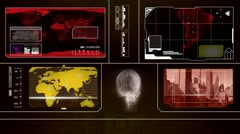 Stock Video Footage of Global Watch - Worp Map Scans - red 001