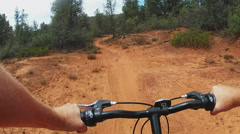 Stock Video Footage of POV Riding Mountain Bike On Narrow Trail In Forest- Sedona AZ