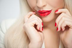 Cute blonde young girl with pretty smile Stock Photos