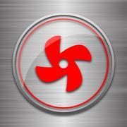Stock Illustration of Fan icon. Internet button on metallic background..