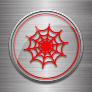 Stock Illustration of Spider web icon. Internet button on metallic background..