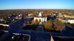 High angle shot of old courthouse in mid west town Stock Footage