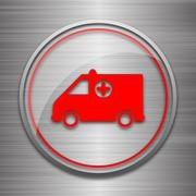 Stock Illustration of Ambulance icon. Internet button on metallic background..