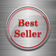 Stock Illustration of Best seller icon. Internet button on metallic background..