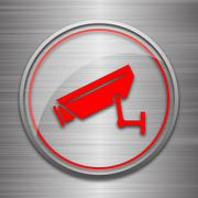 Stock Illustration of Surveillance camera icon. Internet button on metallic background..