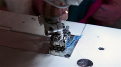 Close up shot needle from sewing machine working Stock Footage