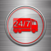 Stock Illustration of 24 7 delivery truck icon. Internet button on metallic background..