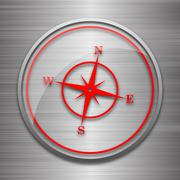 Compass icon. Internet button on metallic background.. - stock illustration