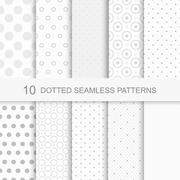 Set of seamless patterns with dots - stock illustration