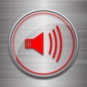 Speaker icon. Internet button on metallic background.. - stock illustration