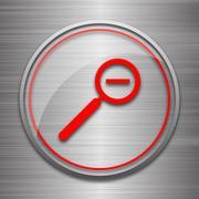 Zoom out icon. Internet button on metallic background.. Stock Illustration