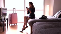 Business Travel Asian Woman Businesswoman With Smartphone In Hotel Room Stock Footage
