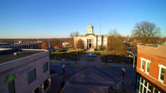Zoom to old courthouse in old downtown of small midwest town Stock Footage