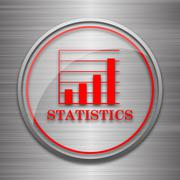 Stock Illustration of Statistics icon. Internet button on metallic background..
